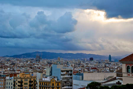 montjuic: View of Barcelona from Montjuic Park with storm clouds