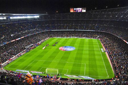 kickoff: Camp Nou stadium During opening ceremony of match FC Barcelona against Sevilla FC