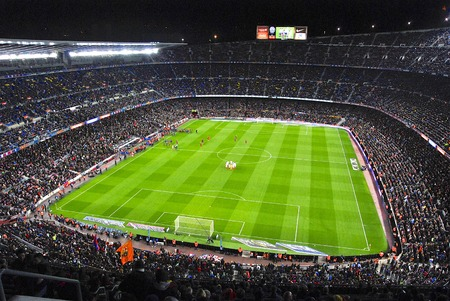 kickoff: Camp Nou stadium few moment before kick-off match FC Barcelona against Sevilla FC Editorial