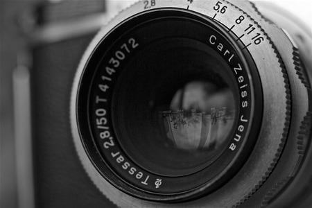 analog camera: Old analog camera lens fixed