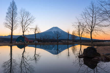 japan: Sunrise landscape view with Mt.Fuji reflects.