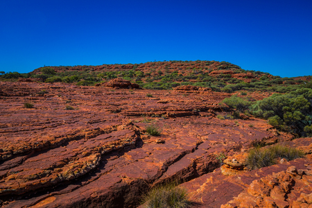 the outback: Australias outback Kings Canyon landscape view in northern territory. Stock Photo