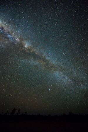 red sky: Clearly milky way found in Australias outback Stock Photo