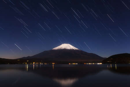 star trail: Mount Fuji reflected in Lake Yamanaka with star trail