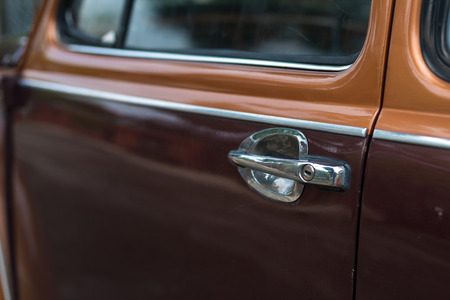 luxery: Details of vintage car side door and handle