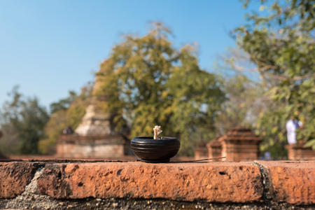 Candle bowl in temple