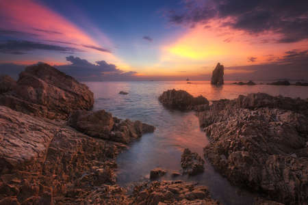 Beautiful natural summer seascape scene in twilight time.