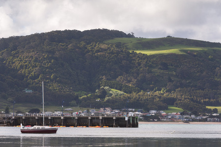 ard: The view of port at Apollo bay in cloudy day Stock Photo