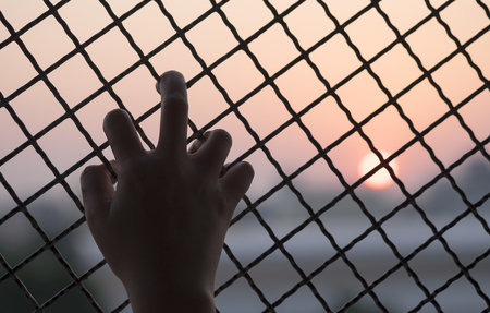 Womans hand grabs the fence, concept of imprisonment Imagens