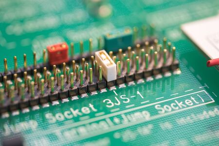 Closeup of electronic circuit board with processor Stock Photo