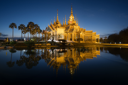 The beautiful temple made from marble and cement in twilight time at Sikhio Nakhon ratchsima, thailand (The public temple)