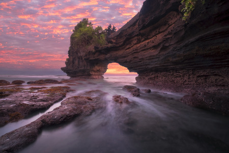 Pura Batu Bolong at sunset