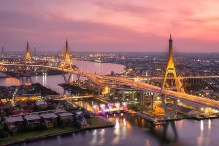 Beautiful sunset view of Bhumibol Bridge in Bangkok , Bridge of transportation for import , export , Bangkok ,Thailand