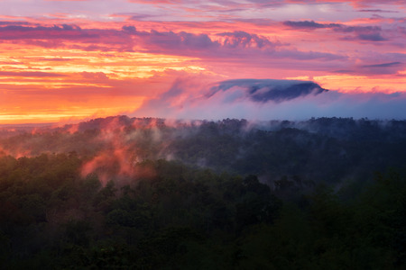Mountain view of  sunrise view point of Nam Nao national park in tropical forest in Phetchabun and Chaiyaphum provinces in northeast Thailand Imagens