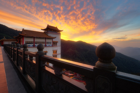 Beautiful sunrise view at the chinese Chin Swee Caves Temple in Genting Highlands. Its a famous public tourism spot in Malaysia.