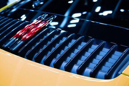 Detail of sport car fragment, rear aerodynamics, exterior of car