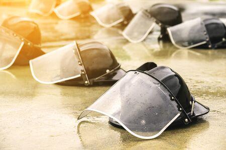 Fireman protective helmets on ground