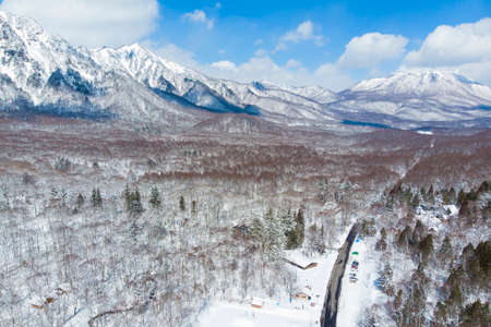 Aerial view of winter scene of Tokagushi mount in Nagano, Japan