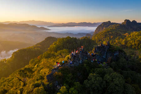Doi Luang Chiang Dao mountain peak located in Chiang Mai province, The third highest mountain in Thailand Imagens