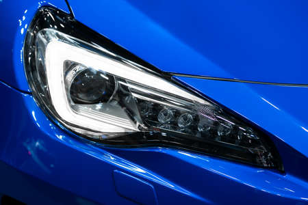 Detail of car LED headlights lamp of new cars