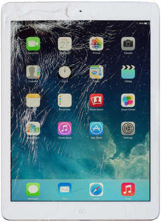 TRONDHEIM, NORWAY - FEBRUARY 27, 2014: Broken iPad Air White Display Editorial