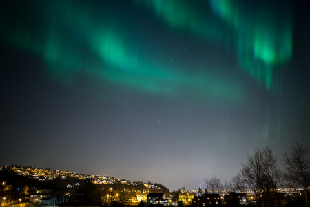 geomagnetic: True geomagnetic storm in Norway, cityscape of Trondheim. Stock Photo