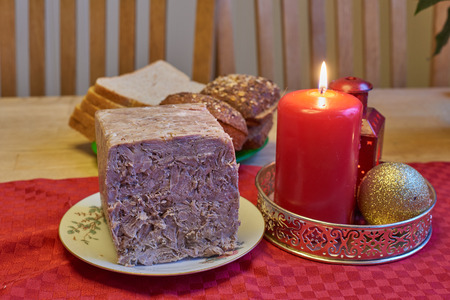 brawn: Homemade brawn. Traditional Norwegian food used during the holidays Stock Photo