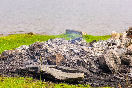 Burned out outdoor natural fire pit. Showing ashes and smoke.