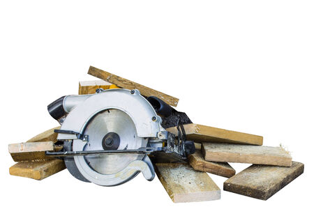 circular saw on white background photo