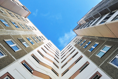 multistory: Multistory residential panel building. View from above.
