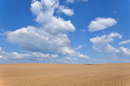 Field of plowed ground on a background of blue sky with clouds.