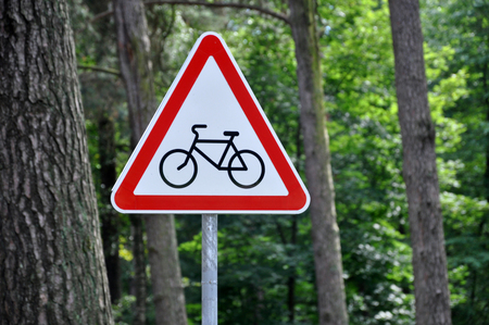 Road Sign Crossing the cycle path on the background of pine forest.