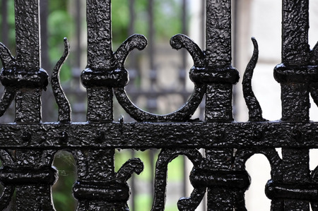 Forged vintage black metal elements of fence close-up.