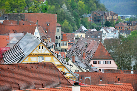 Panorama of the historic center Tubingen, Baden-Wurttemberg, Germany. Red tiled roofs and half-timbered house on a background of mountains.