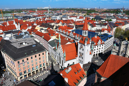 bayern old town: Munich panorama. The red roofs and towers of the old town, Bayern, Germany.