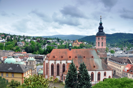 Panoramic view of Baden-Baden. Roofs and towers of the old town. Baden-Wurttemberg, Germany.