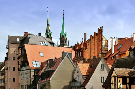 View of Nuremberg, Bayern, Germany. Gabled red roofs of old city.