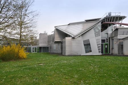 Stuttgart, Germany - April 17, 2015: Hysolar Institute Building in the style of deconstruction, University of Stuttgart.