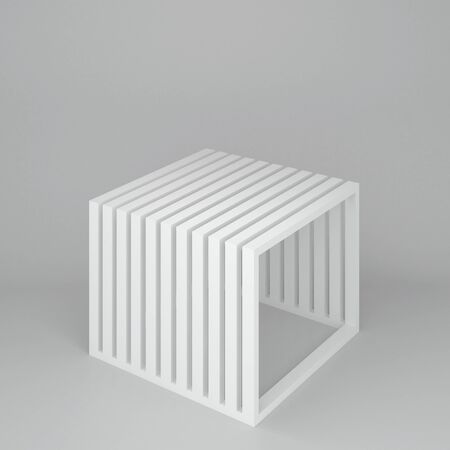 furniture store: 3d illustration. Isolated stand for presentation of goods in the form of cube. Structure of the square white frames. Render.