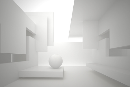 3d illustration. White interior of a non-existent building. Walls with rectangular holes, multilevel ceiling, white sphere on the floor. Light in perspective. Architectural minimal background, render. Stock Photo