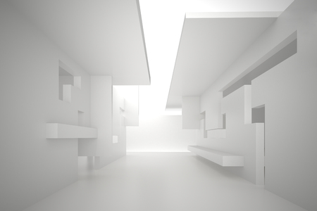 3d illustration. White interior of a non-existent building. The walls of the room with rectangular holes, multilevel ceiling. Light in perspective. Architectural minimalistic background, render.