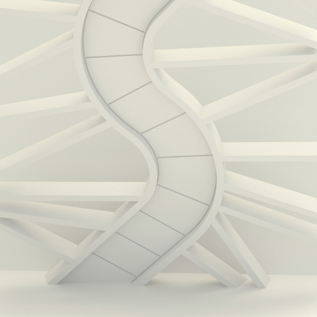 snakes and ladders: 3d illustration. Three-dimensional composition, based on the image of the spiral staircase, the DNA molecule, the snake. Abstract white architectural background, render.