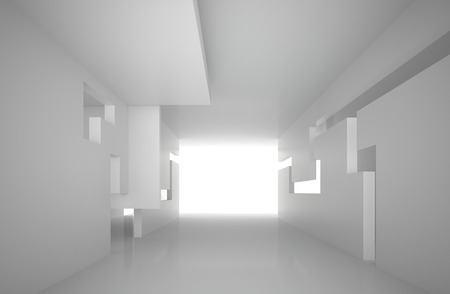 3d illustration. White interior of a non-existent building. The walls of the room with rectangular holes, multilevel ceiling. Light in perspective. Architectural minimal background, render.