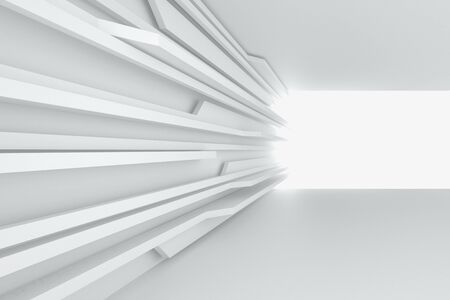 3d illustration. Abstract three-dimensional composition on the theme of progress, data transmission; dynamics, aspiration. Moving forward white lines, backlit in perspective. Render.