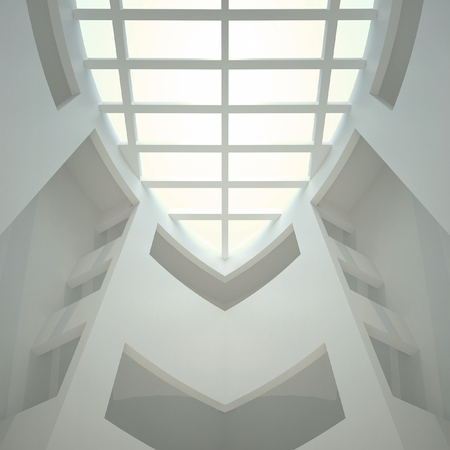 3d illustration. Three-dimensional composition based on an abstract white  interior. Geometric rounded shape in perspective, look up. The design of the ceiling, look up.