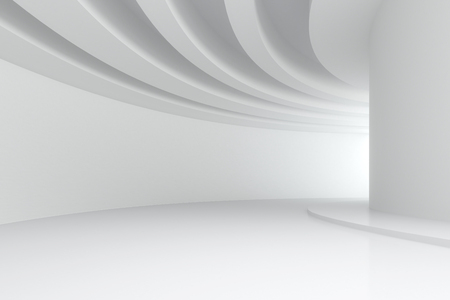3d illustration. White abstract three-dimensional composition. Long curve corridor with circular beams on the ceiling in perspective. Architectural background, render. Stock Photo