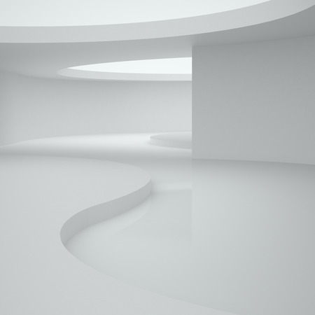 3d illustration. White abstract nonexistent interior of curve shapes on the floor and the ceiling. Architectural background with space for text. Render.