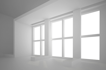 joinery: 3d illustration. White non-existent interior with framed rectangular window. Architectural background, render.