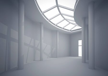 overhead: 3d illustration. White interior of nonexistent building. Long circular corridor with overhead lighting in perspective. Render.