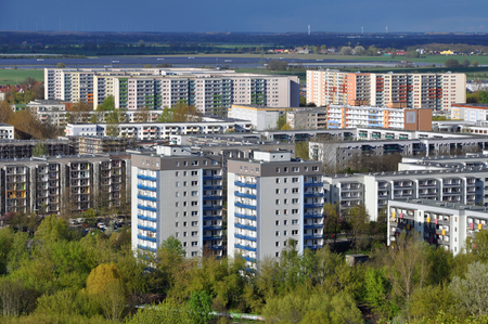 Aerial view of the modern residential district of Marzahn in Berlin. Highrise buildings in perspective. Stock Photo